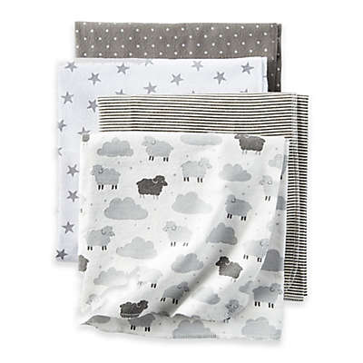 carter's® Sheep Clouds 4-Pack Blankets in Grey