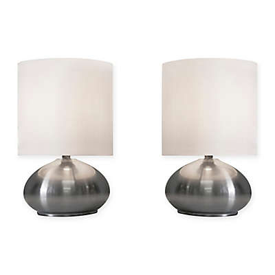 2-Piece Touch Desk Lamp Set in Brushed Steel
