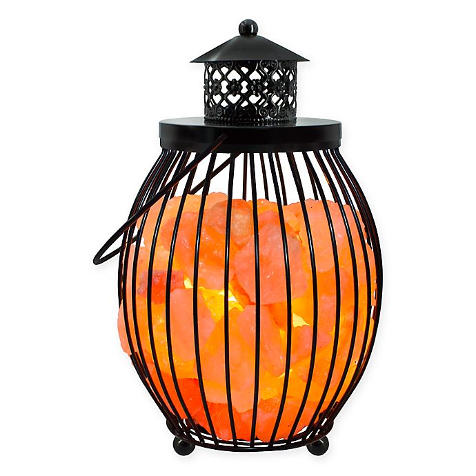 Alternate image 1 for Himalayan Glow® Ionic Salt Crystal Metal Olivary Lantern