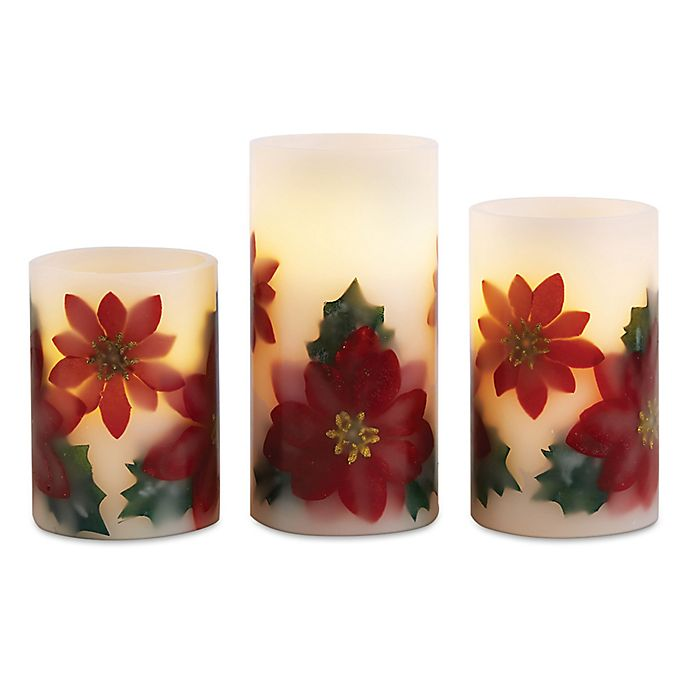 Led Flameless Holiday Poinsettia Pillar Candles Set Of 3