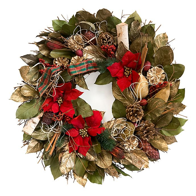 pine poinsettia cones wreath greetings season heading bed informational purposes provided availability customer check before there