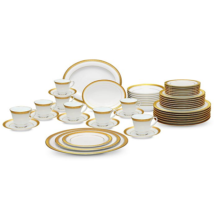 Alternate image 1 for Noritake® Crestwood Gold 50-Piece Dinnerware Set