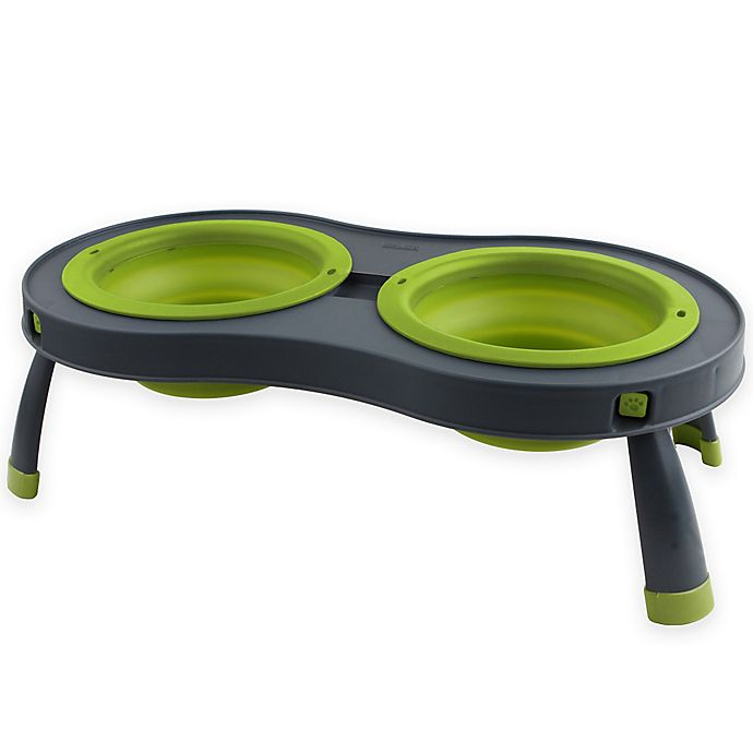 Alternate image 1 for Small Double Elevated Pet Feeder in Green