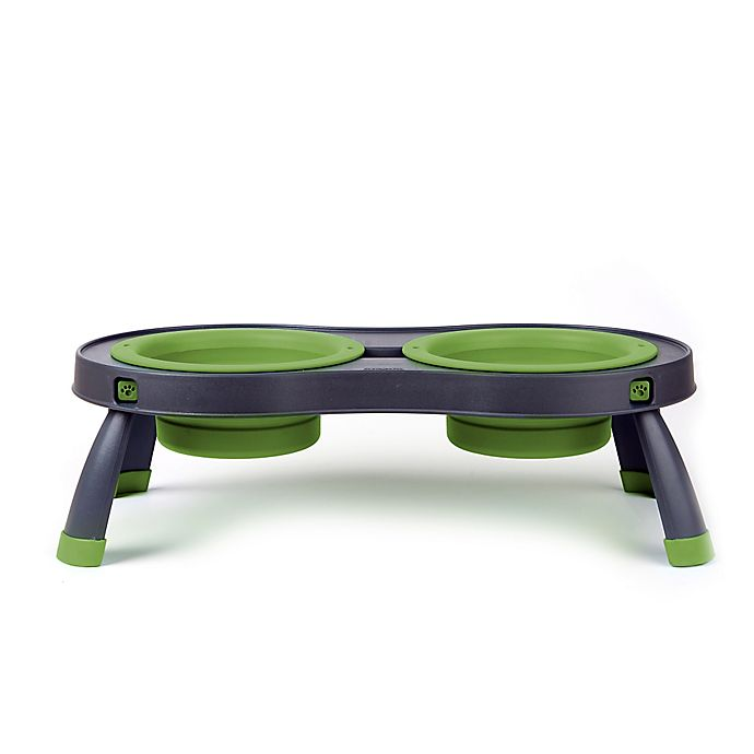 Alternate image 1 for Large Double Elevated Pet Feeder in Green