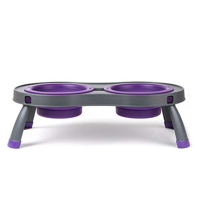 Alternate image 1 for Large Double Elevated Pet Feeder in Purple