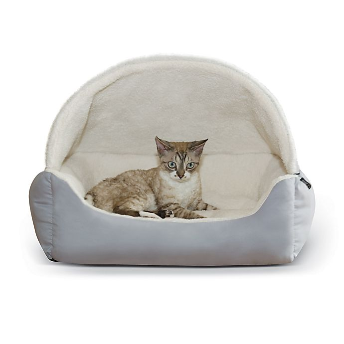 Alternate image 1 for Hooded Lounge Sleeper™ Snuggle Pet Bed in Grey