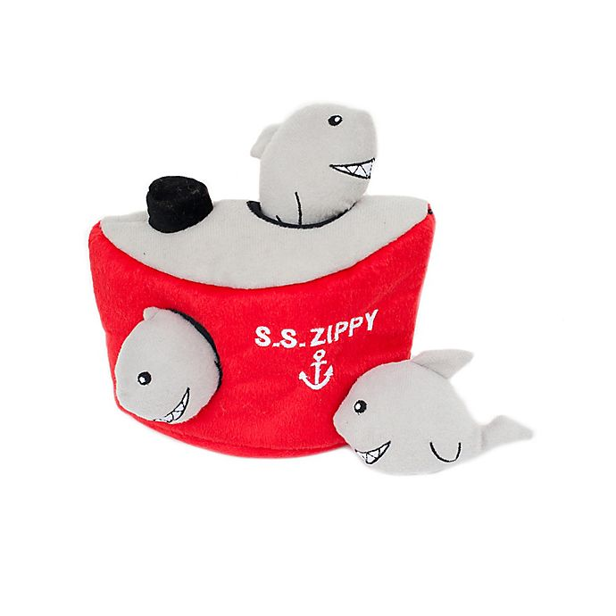 Alternate image 1 for ZippyPaws Zippy Burrow Shark 'n Ship Interactive Play Dog Toy