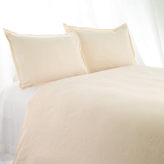 Alternate image 1 for Aura Solid Linen Cotton King Duvet Cover in Ecru