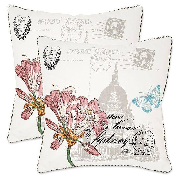Alternate image 1 for Safavieh Gloria 22-Inch x 22-Inch Throw Pillows in White (Set of 2)
