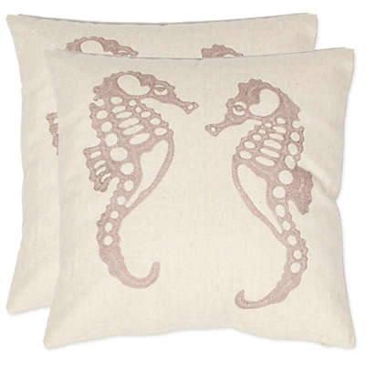 Safavieh Dahli Seahorse Throw Pillows in Ivory (Set of 2)