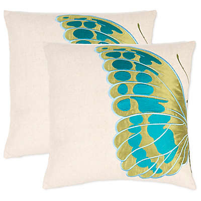Safavieh Indra Blue Wing Throw Pillows in Cream/Blue (Set of 2)