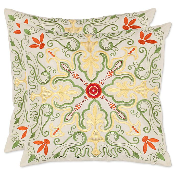 Alternate image 1 for Safavieh Ariel Throw Pillows in White/Multi (Set of 2)