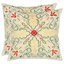 Safavieh Ariel Throw Pillows in White/Multi (Set of 2)