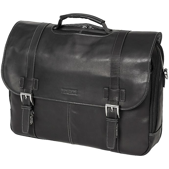 f1487ae52 Kenneth Cole Reaction Colombian Leather Flapover Briefcase in Black ...