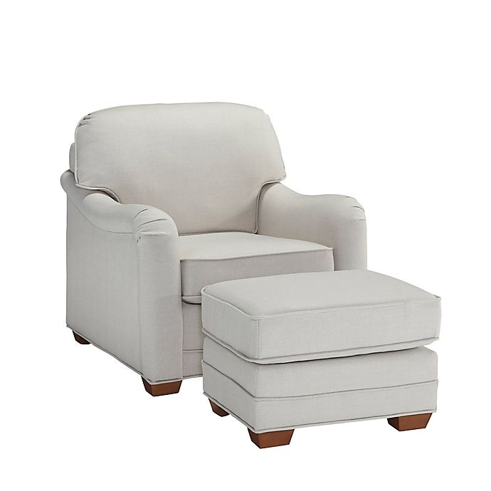 Alternate image 1 for Home Styles Heather Upholstered Chair and Ottoman in Off-White