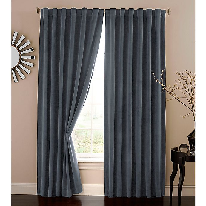Alternate image 1 for Absolute Zero 108-Inch Velvet Blackout Home Theater Curtain Panel in Stone Blue