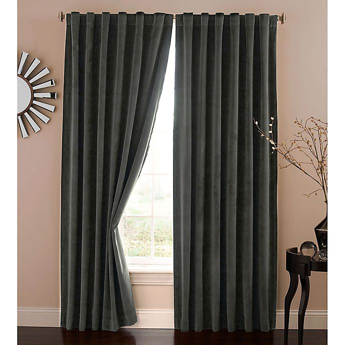Alternate image 1 for Absolute Zero 63-Inch Velvet Blackout Home Theater Curtain Panel in Charcoal