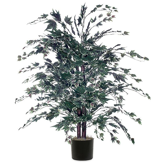 4 Foot Fabric Maple Bush In Silver With Black Pot Bed Bath Beyond