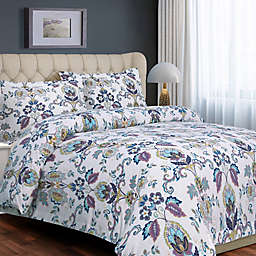 Tribeca Living Abstract Paisley 200 GSM Printed Flannel Duvet Cover Set in Purple