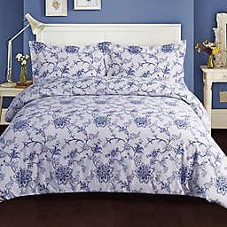 Tribeca Living Floral 200 GSM Printed Flannel Duvet Cover Set in Blue
