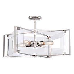 George Kovacs® Crystal-Clear 4-Light Semi-Flush with Polished Nickel Finish
