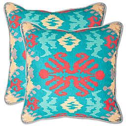 Safavieh Rye 22-Inch Throw Pillows in Aqua/Red (Set of 2)
