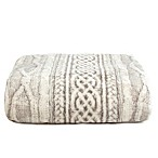 Tadpoles Cable Knit Print Microfleece Throw Blanket in Grey
