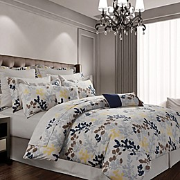 Tribeca Living Barcelona 12-Piece 300-Thread-Count Premium Cotton Percale Comforter Set in Navy