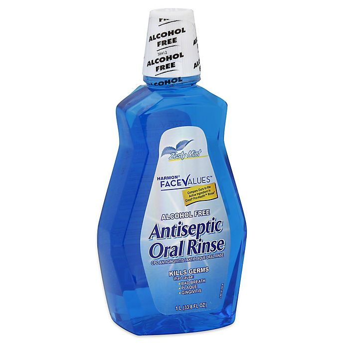 Alternate image 1 for Harmon® Face Values™ 33.8 oz. Alcohol-Free Antiseptic Oral Rinse in Zesty Mint