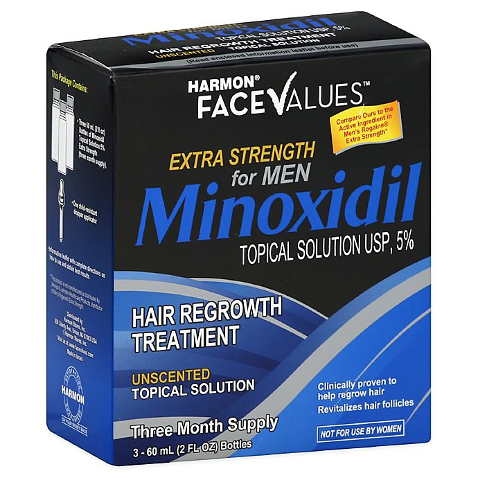 Alternate image 1 for Harmon® Face Values™ 3-Count Minoxidil Topical Solution Hair Regrowth Treatment for Men