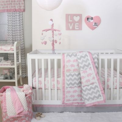 The Peanutshell Elephant Crib Bedding Collection In Pink