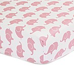 The Peanutshell™  Elephant Fitted Crib Sheet in Pink
