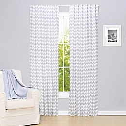 The Peanutshell™ Chevron 2-Pack 84-Inch Rod Pocket Window Curtain Panels in Grey