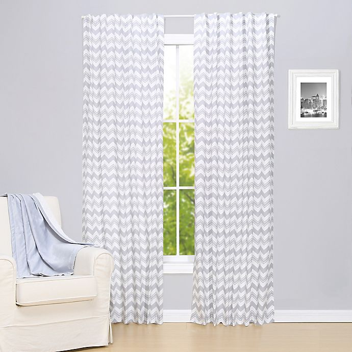 Alternate image 1 for The Peanutshell™ Chevron 2-Pack 84-Inch Rod Pocket Window Curtain Panels in Grey
