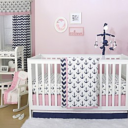 The Peanutshell™  Anchor 4-Piece Crib Bedding Set in Navy/Pink