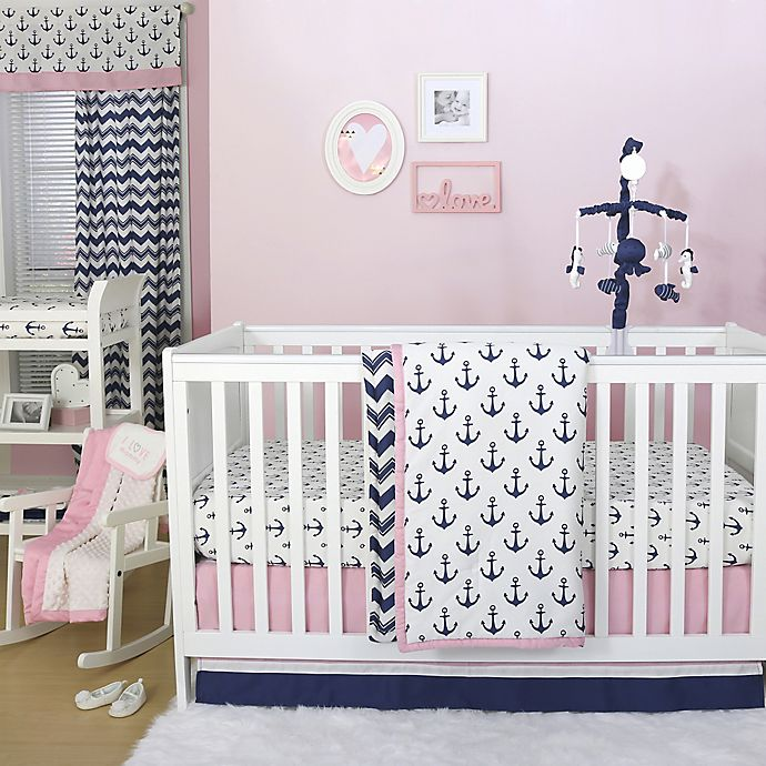 Alternate image 1 for The Peanutshell™  Anchor 4-Piece Crib Bedding Set in Navy/Pink