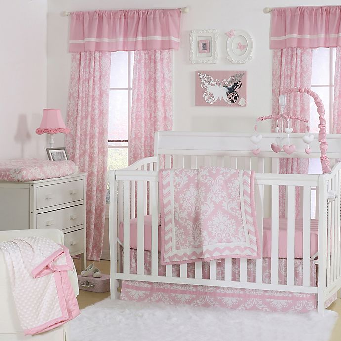 The Peanut Shell Damask Crib Bedding Collection In Pink