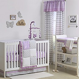 The Peanutshell™  Woodland Patchwork Crib Bedding Collection in Purple/Grey