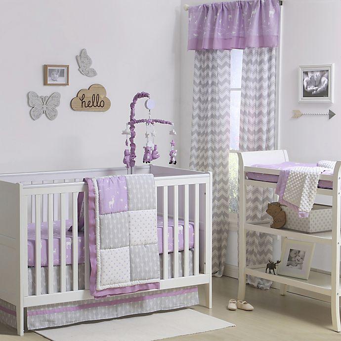 Alternate image 1 for The Peanutshell™  Woodland Patchwork 4-Piece Crib Bedding Set in Purple/Grey