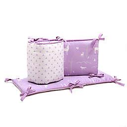 The Peanut Shell™ Woodland Triangles 4-Piece Crib Bumper Set in Purple/Grey