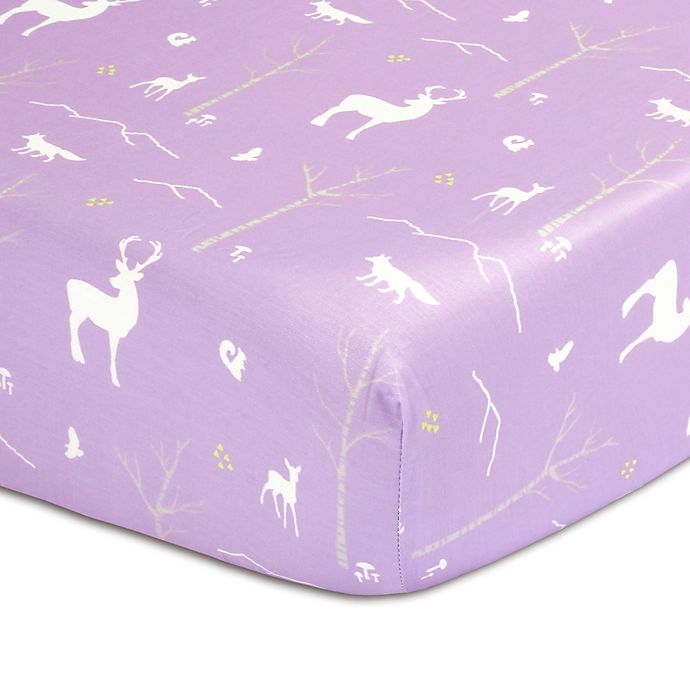 Alternate image 1 for The Peanut Shell™ Woodland Fitted Crib Sheet in Purple