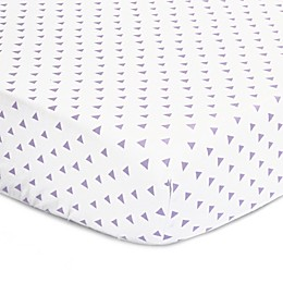 The Peanut Shell™ Triangles Fitted Crib Sheet in Purple