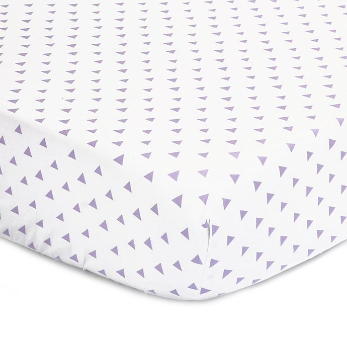 Alternate image 1 for The Peanut Shell™ Triangles Fitted Crib Sheet in Purple