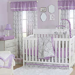 The Peanutshell™  Damask Crib Bedding Collection in Purple/Grey