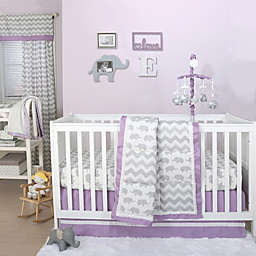 The Peanutshell™  Elephant 4-Piece Crib Bedding Set in Purple/Grey