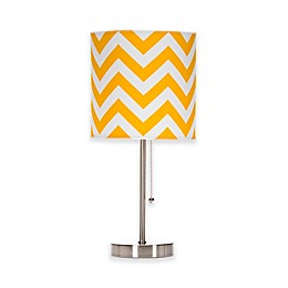 Glenna Jean Swizzle Chevron Mod Lamp Base with Shade in Yellow/White