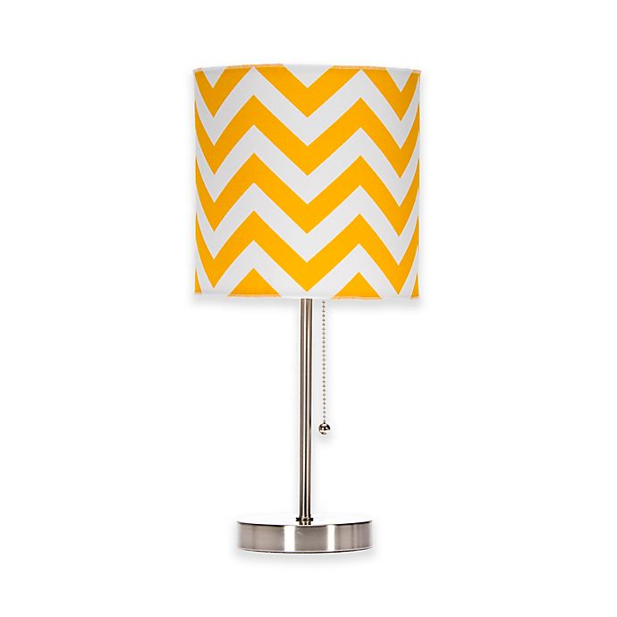 Alternate image 1 for Glenna Jean Swizzle Chevron Mod Lamp Base with Shade in Yellow/White