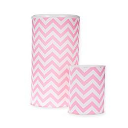 Glenna Jean Swizzle Chevron Hamper and Wastebasket Set in Pink/White