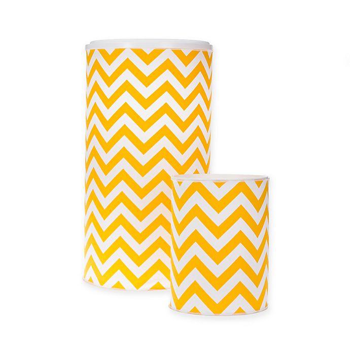 Alternate image 1 for Glenna Jean Swizzle Chevron Hamper and Wastebasket Set in Yellow/White