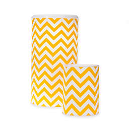 Glenna Jean Swizzle Chevron Hamper and Wastebasket Set in Yellow/White